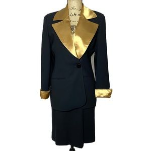 Dior Black Gold Wool Skirt Suit Set